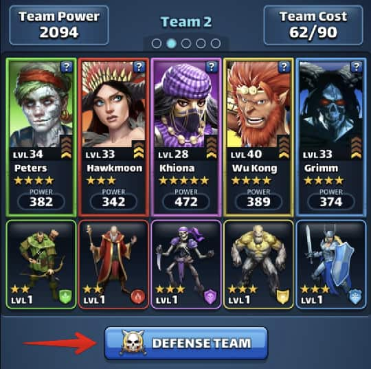 defense team setup in empires and puzzles