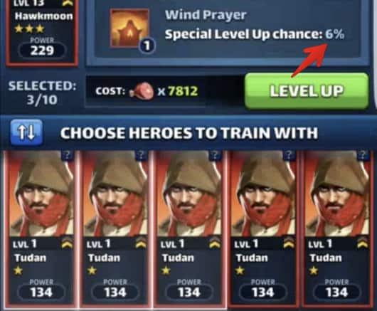 level up heroes chances